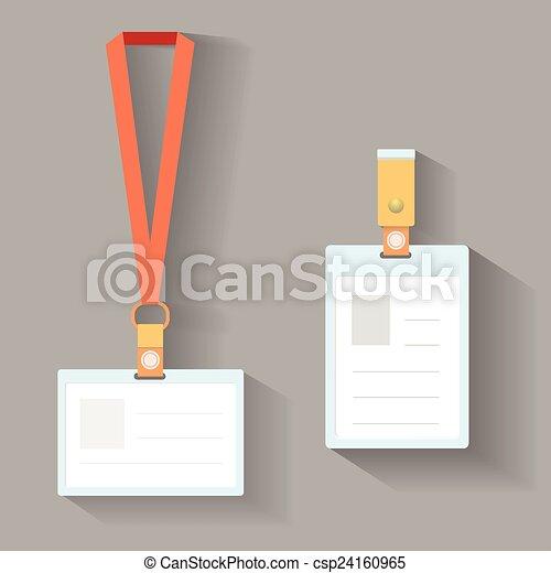 Lanyard badges flat design. Lanyard badges template flat design with ...