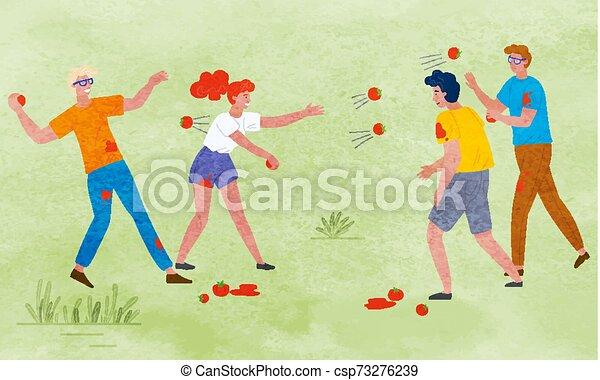 Festival de la cosecha, gente tirando tomates maduros - csp73276239