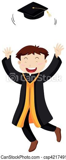 Hombre tirando gorra de graduación - csp42174916