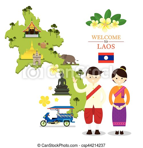 Laos map and landmarks with people in traditional clothing