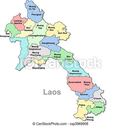 Color Laos Map Over White Vector Search Clip Art Illustration - Laos map vector