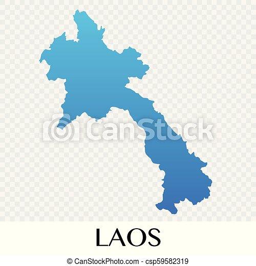 Laos map in Asia continent illustration design