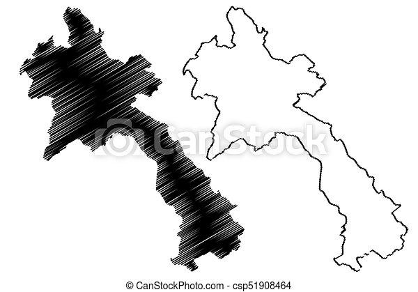 Laos Map Vector Illustration Scribble Sketch Laos Clip Art Vector - Laos map vector