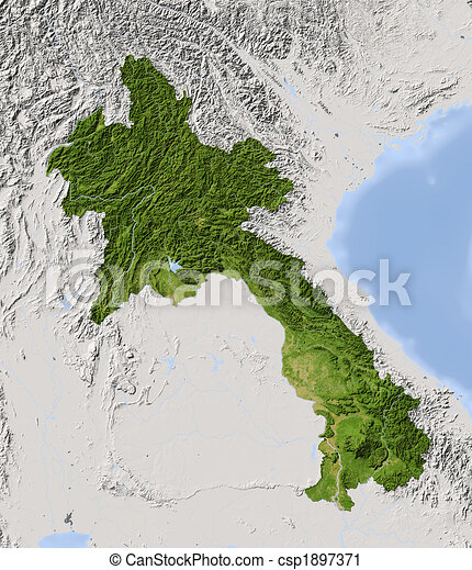 Laos, shaded relief map. - csp1897371
