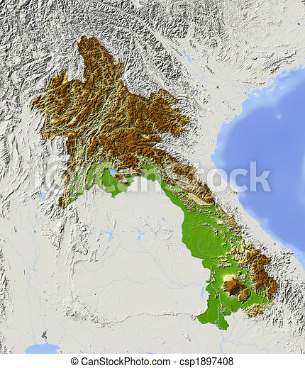 Laos, shaded relief map. - csp1897408