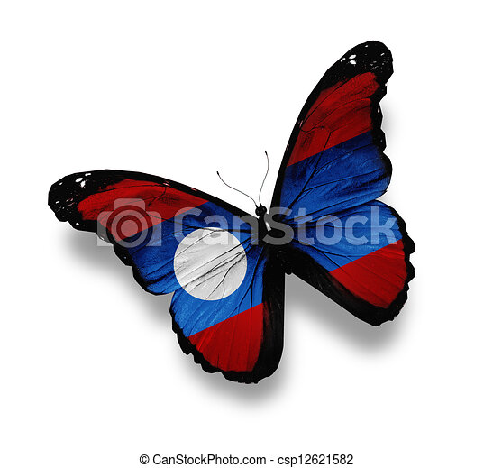 Laotian flag butterfly, isolated on white - csp12621582