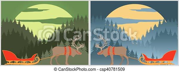 El trineo de Santa con ciervos del norte. Laponia. Paisaje forestal de invierno - csp40781509