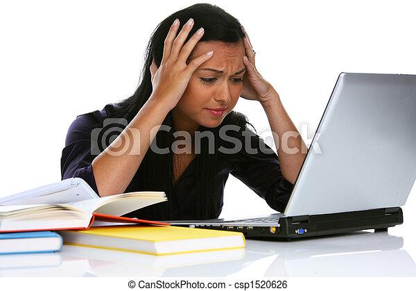 laptop , γυναίκα , ηλεκτρονικός υπολογιστής , νέος , απελπισμένος  - csp1520626