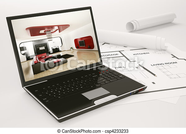Laptop and blueprint of housing project 3d - csp4233233
