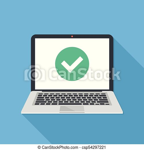 Laptop And Check Mark Notebook And Round Green Tick Icon Checkmark