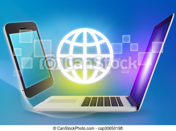 Laptop and phone with globe icon on a blue background - csp30650198