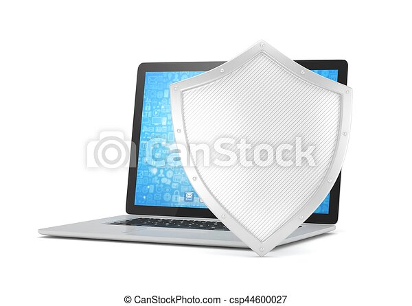 Laptop and shield on white, computer security concept. 3d rendering. - csp44600027