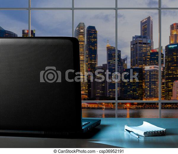 laptop at sunset office - csp36952191