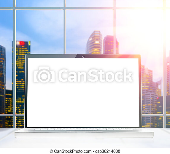 laptop at sunset office - csp36214008