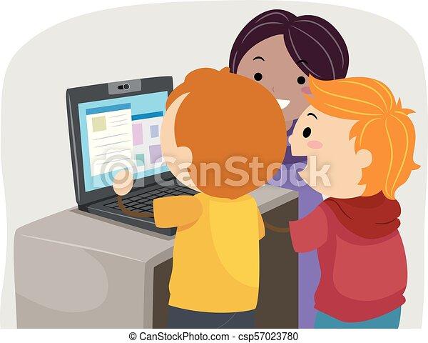 laptop, bambini, stickman, classe, illustrazione - csp57023780