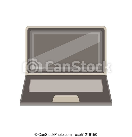 laptop computer isolated screen icon blank background white vector