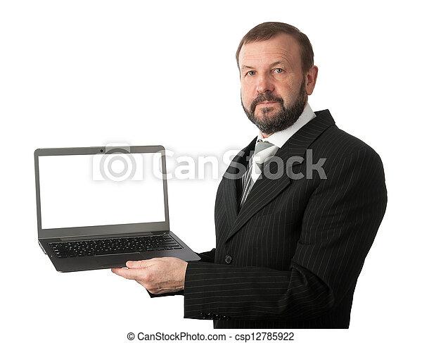 laptop computer, oud, zakenmens  - csp12785922