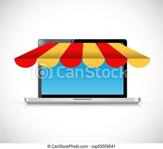 laptop computer store illustration design - csp53559541