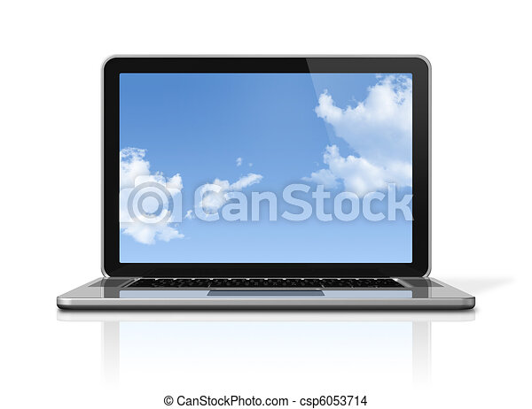 Laptop computer with sky screen isolated on white - csp6053714