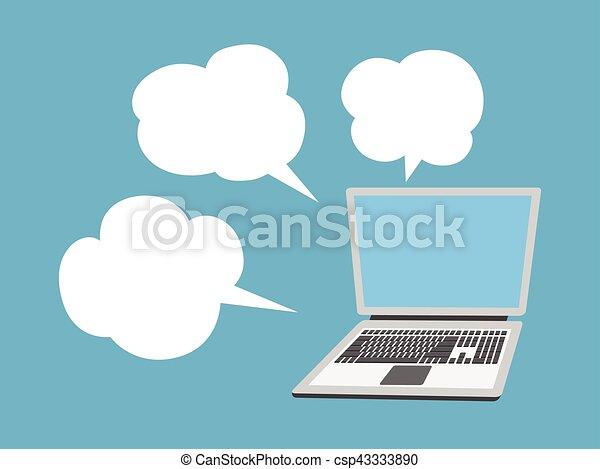 laptop computer with speech bubble - csp43333890