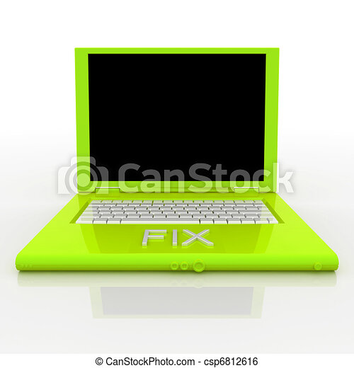 Laptop computer with word fix on it - csp6812616