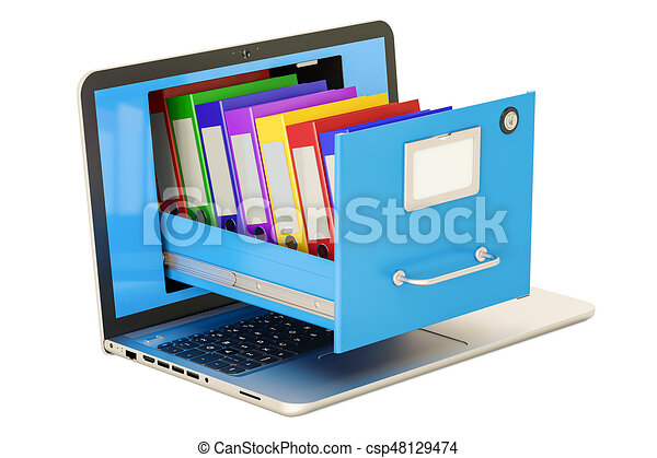 Laptop Data Storage. Notebook With Folders In Filing Cabinet, 3D Rendering    Csp48129474