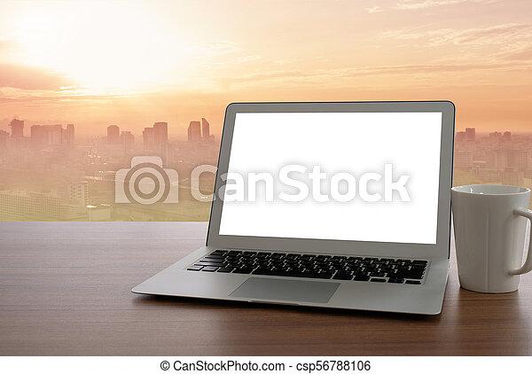 laptop, ekran, czysty - csp56788106