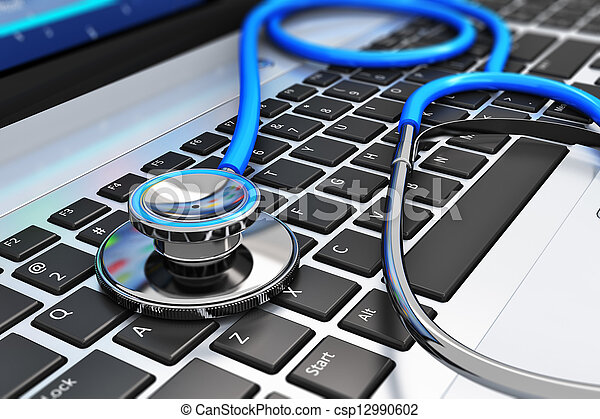 laptop, estetoscópio, teclado - csp12990602