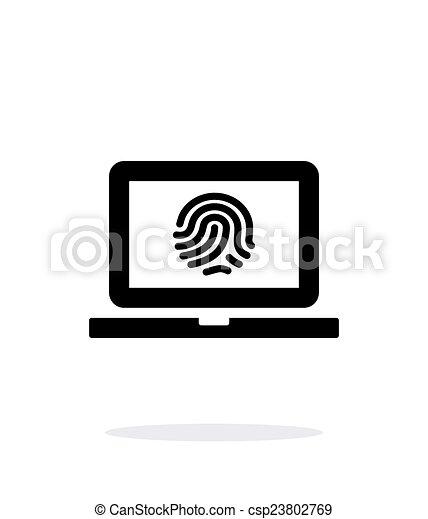 Laptop fingerprint icon on white background. - csp23802769