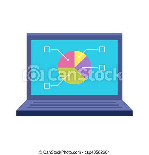 Laptop Flat Icon Pie Chart On Screen Internet Technology Or Office