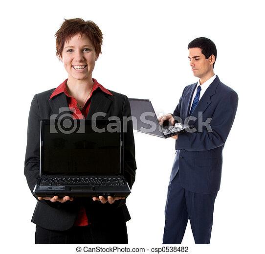 laptop, glücklich - csp0538482