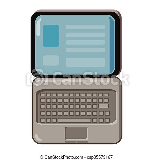 Laptop icon, cartoon style - csp35573167