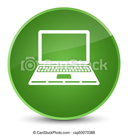 Laptop icon elegant soft green round button - csp50070388