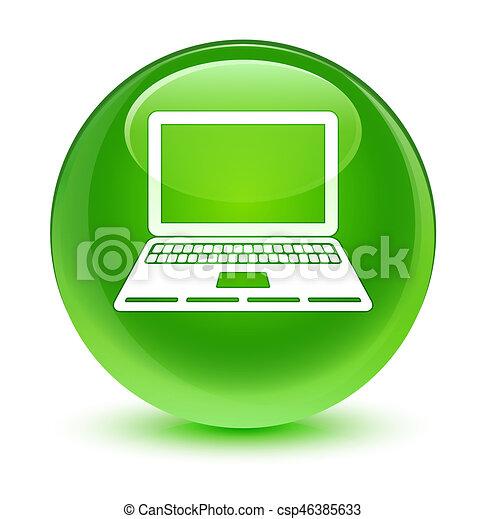 Laptop icon glassy green round button - csp46385633