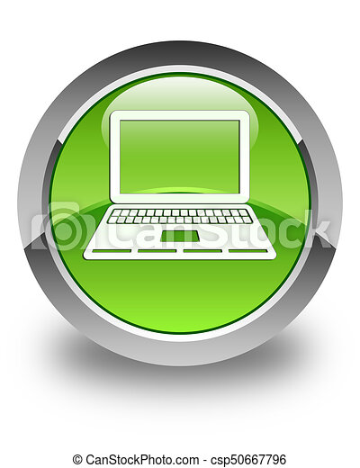 Laptop icon glossy green round button - csp50667796