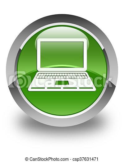Laptop icon glossy soft green round button - csp37631471