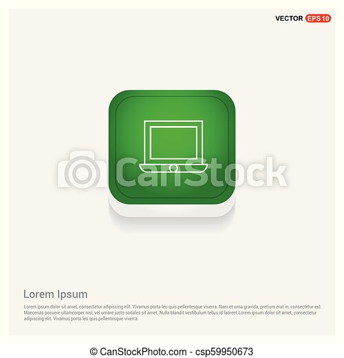 Laptop Icon Green Web Button - csp59950673