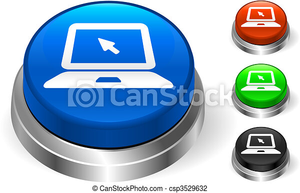 Laptop Icon on Internet Button - csp3529632