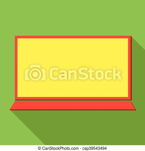 Laptop icon over green background, vector illustration - csp39543494