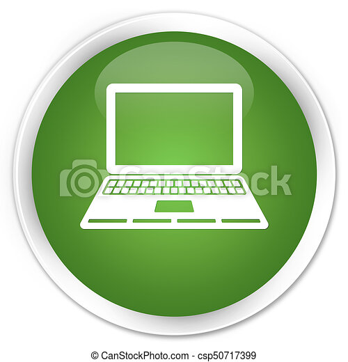 Laptop icon premium soft green round button - csp50717399