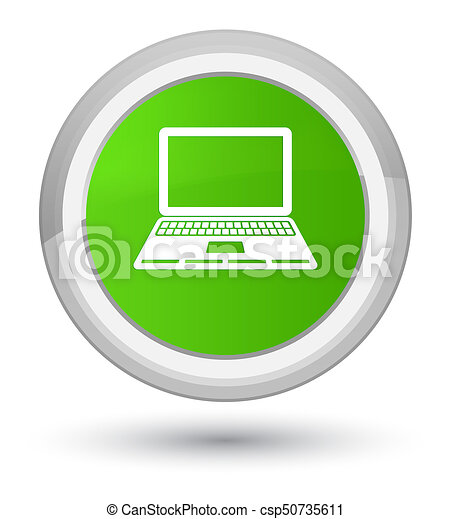 Laptop icon prime soft green round button - csp50735611