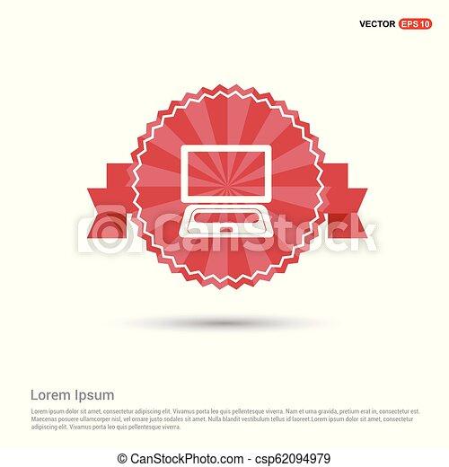 Laptop Icon - Red Ribbon banner - csp62094979