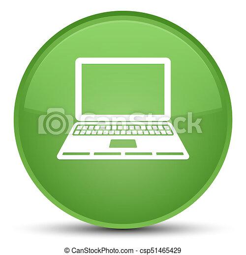 Laptop icon special soft green round button - csp51465429