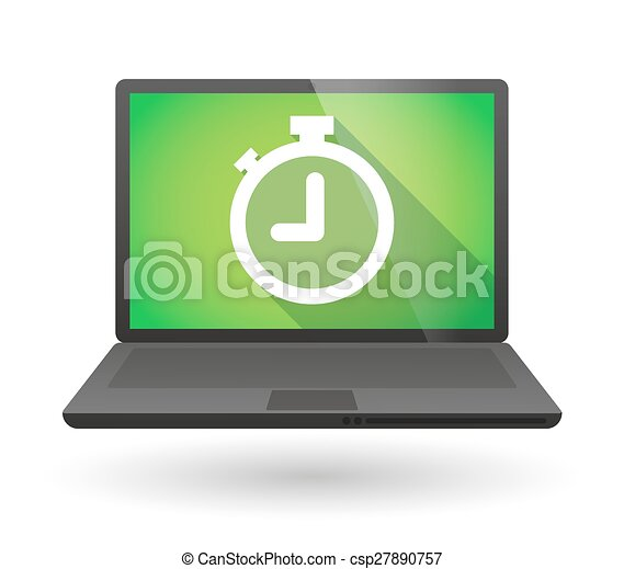 laptop icon with a timer illustration of a laptop icon with a timer