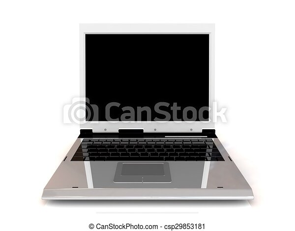 Laptop isolated on white background with blank screen. - csp29853181