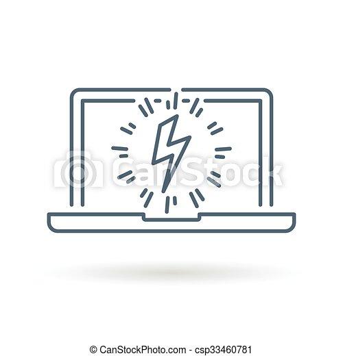 Laptop, ladung, weißer hintergrund, ikone. Edv, elektrische strom ...
