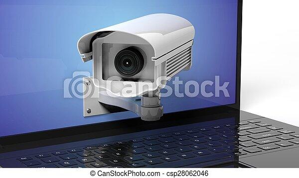 laptop, macchina fotografica sorveglianza, closeup, sicurezza, schermo - csp28062046
