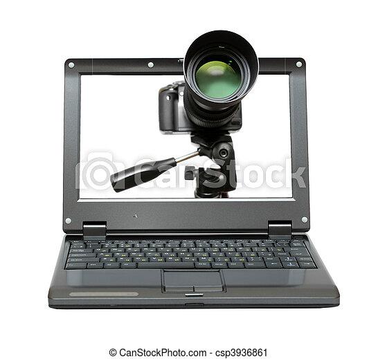 laptop, macchina fotografica, treppiede - csp3936861