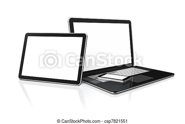 laptop, mobile phone and digital tablet pc computer - csp7821551