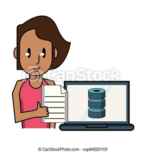laptop, mulher, trabalhando - csp64520103